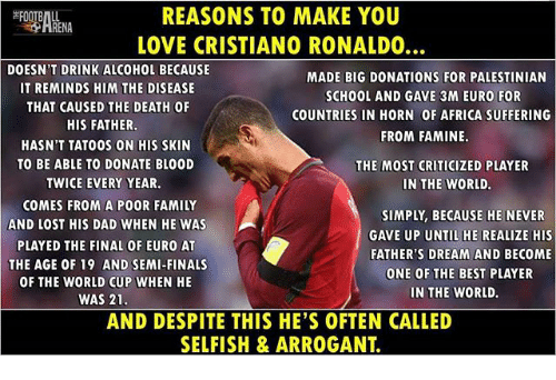 Semy: REASONS TO MAKE YOU  LOVE CRISTIANO RONALDO  DOESN'T DRINK ALCOHOL BECAUSE  IT REMINDS HIM THE DISEASE  THAT CAUSED THE DEATH OF  MADE BIG DONATIONS FOR PALESTINIAN  SCHOOL AND GAVE 3M EURO FOR  COUNTRIES IN HORN OF AFRICA SUFFERING  FROM FAMINE  HIS FATHER  HASN'T TATOOS ON HIS SKIN  TO BE ABLE TO DONATE BL00D  TWICE EVERY YEAR.  THE MOST CRITICIZED PLAYER  IN THE WORLD.  COMES FROM A POOR FAMILY  AND LOST HIS DAD WHEN HE WAS  PLAYED THE FINAL OF EURO AT  THE AGE OF 19 AND SEMI-FINALS  OF THE WORLD CUP WHEN HE  SIMPLY, BECAUSE HE NEVER  GAVE UP UNTIL HE REALIZE HIS  FATHER'S DREAM AND BECOME  ONE OF THE BEST PLAYER  IN THE WORLD.  WAS 21  AND DESPITE THIS HE'S OFTEN CALLED  SELFISH & ARROGANT.