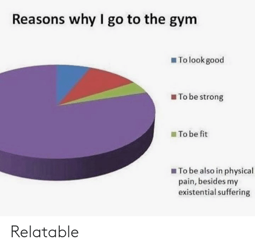 Gym, Good, and Relatable: Reasons why I go to the gym  To look good  To be strong  To be fit  To be also in physical  pain, besides my  existential suffering Relatable