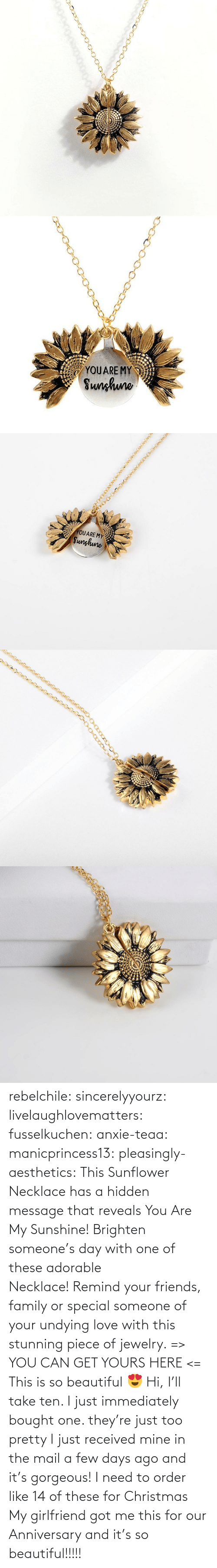 Gorgeous: rebelchile:  sincerelyyourz:  livelaughlovematters:  fusselkuchen:  anxie-teaa:   manicprincess13:   pleasingly-aesthetics:  This Sunflower Necklace has a hidden message that reveals You Are My Sunshine! Brighten someone's day with one of these adorable Necklace! Remind your friends, family or special someone of your undying love with this stunning piece of jewelry. => YOU CAN GET YOURS HERE <=   This is so beautiful 😍    Hi, I'll take ten.    I just immediately bought one. they're just too pretty   I just received mine in the mail a few days ago and it's gorgeous!   I need to order like 14 of these for Christmas    My girlfriend got me this for our Anniversary and it's so beautiful!!!!!