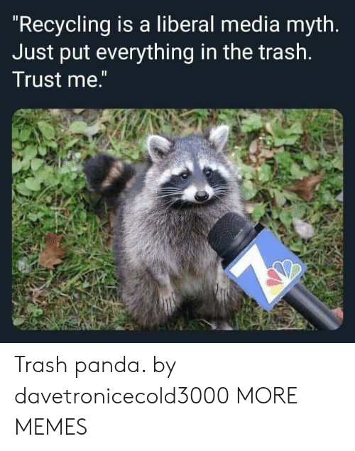 "Panda: ""Recycling is a liberal media myth.  Just put everything in the trash.  Trust me."" Trash panda. by davetronicecold3000 MORE MEMES"