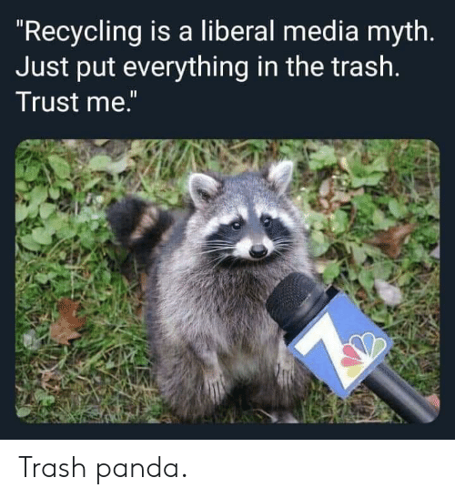 "Panda: ""Recycling is a liberal media myth.  Just put everything in the trash.  Trust me."" Trash panda."
