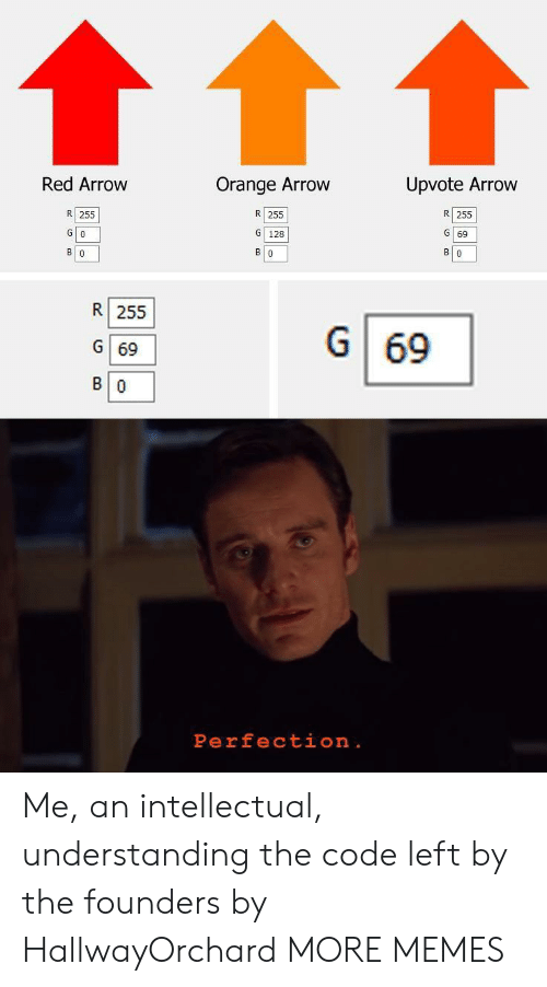 Arrow: Red Arrow  Orange Arrow  Upvote Arrow  R 255  R 255  R 255  G 128  G 0  G 69  в о  в о  В о  R 255  G  69  G 69  В о  Perfection . Me, an intellectual, understanding the code left by the founders by HallwayOrchard MORE MEMES