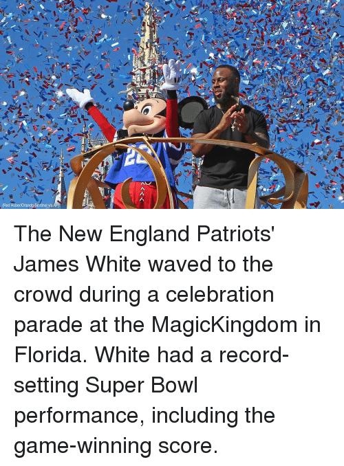 Memes, New England Patriots, and 🤖: (Red Huber/Orlando Sentinel via The New England Patriots' James White waved to the crowd during a celebration parade at the MagicKingdom in Florida. White had a record-setting Super Bowl performance, including the game-winning score.