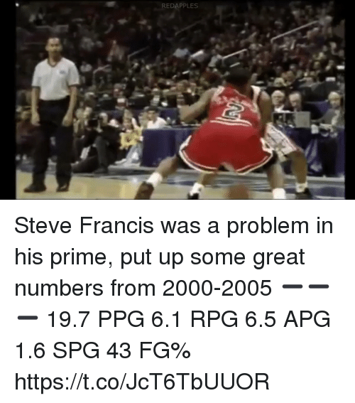 ppg: REDAPPLES Steve Francis was a problem in his prime, put up some great numbers from 2000-2005 ➖➖➖ 19.7 PPG 6.1 RPG 6.5 APG 1.6 SPG 43 FG% https://t.co/JcT6TbUUOR