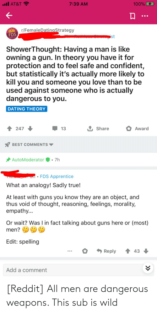 reddit all: [Reddit] All men are dangerous weapons. This sub is wild
