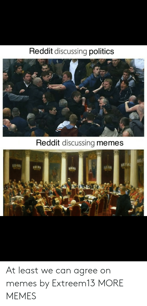 Dank, Memes, and Politics: Reddit discussing politics  Reddit discussing memes  DE At least we can agree on memes by Extreem13 MORE MEMES