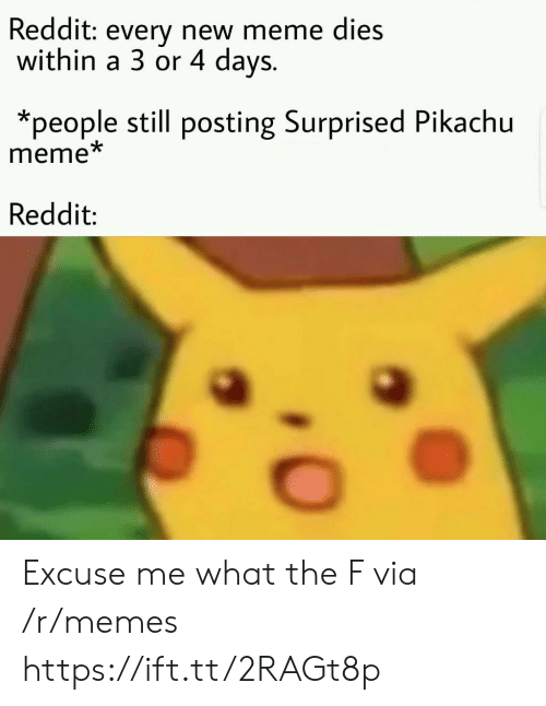 Meme, Memes, and Pikachu: Reddit: every new meme dies  within a 3 or 4 days.  *people still posting Surprised Pikachu  meme  Reddit: Excuse me what the F via /r/memes https://ift.tt/2RAGt8p
