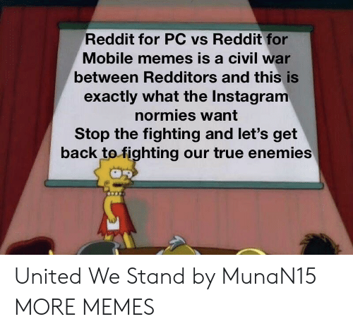 United We Stand: Reddit for PC vs Reddit for  Mobile memes is a civil war  between Redditors and this is  exactly what the Instagram  normies want  Stop the fighting and let's get  back tofighting our true enemies United We Stand by MunaN15 MORE MEMES