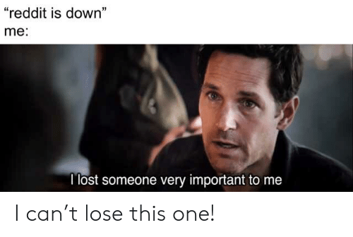"Reddit, Lost, and Can: ""reddit is down""  me:  I lost someone very important to me I can't lose this one!"