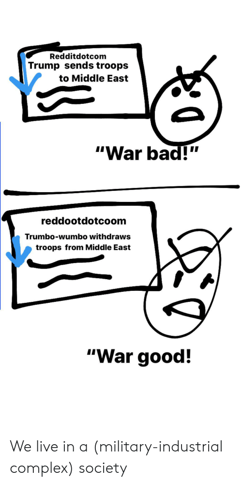 "Bad, Complex, and Good: Redditdotcom  Trump sends troops  to Middle East  ""War bad!""  reddootdotcoom  Trumbo-wumbo withdraws  troops from Middle East  ""War good! We live in a (military-industrial complex) society"