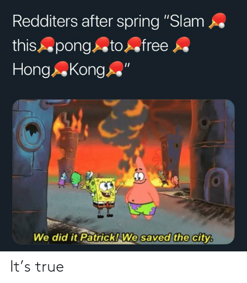 """We Did It Patrick We Saved The City: Redditers after spring """"Slam  this pong  Hong Kong  to free  We did it Patrick! We saved the city. It's true"""