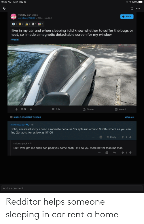 Home: Redditor helps someone sleeping in car rent a home