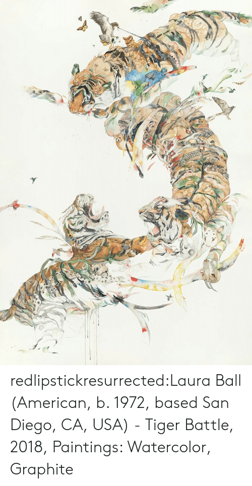 diego: redlipstickresurrected:Laura Ball (American, b. 1972, based San Diego, CA, USA) - Tiger Battle, 2018, Paintings: Watercolor, Graphite