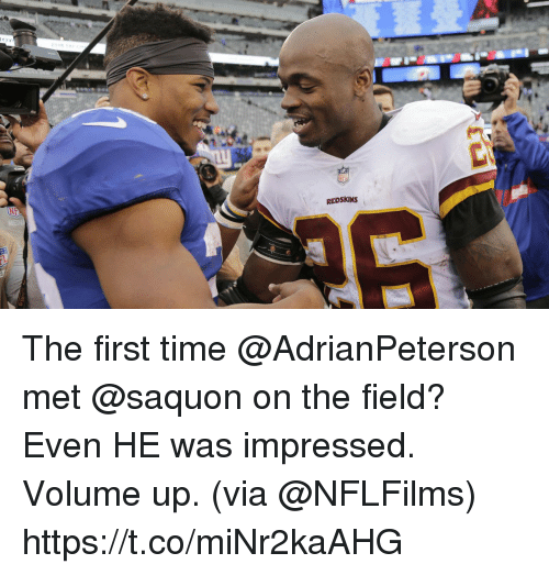 Volume Up: REDSKINS The first time @AdrianPeterson met @saquon on the field?  Even HE was impressed.  Volume up. (via @NFLFilms) https://t.co/miNr2kaAHG