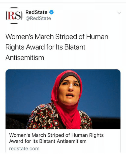 Memes, Antisemitism, and 🤖: RedState  @RedState  Women's March Striped of Human  Rights Award for lts Blatant  Antisemitism  Women's March Striped of Human Rights  Award for Its Blatant Antisemitism  redstate.com