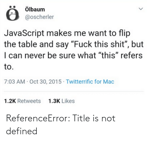 Is Not: ReferenceError: Title is not defined