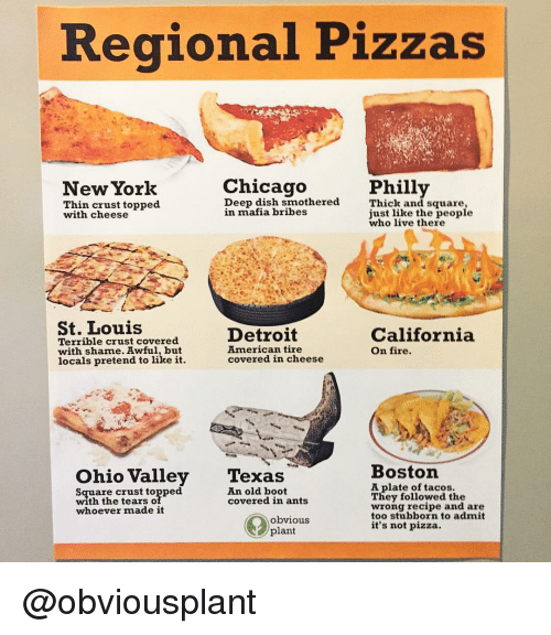 Chicago, Detroit, and Fire: Regional Pizzas  Chicago  Phill  Thick an  just like the people  New York  Thin crust topped  with cheese  Deep dish smothered  in mafia bribes  d square  who live there  St. Louis  Terrible crust covered  with shame. Awful, but  locals pretend to like it.  Detroit  American tire  covered in cheese  California  On fire.  Ohio Valley Texas  Boston  Square crust topped  with the tearso  whoever made it  A plate of tacos.  They followed the  wrong recipe and are  too stubborn to admit  it's not pizza.  An old boot  covered in ants  obvious  plant @obviousplant