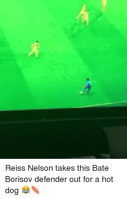 bate: Reiss Nelson takes this Bate Borisov defender out for a hot dog 😂🌭