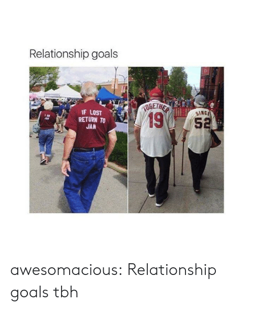 Goals, Tbh, and Tumblr: Relationship goals  IF LOST  SINC  19  RETURN TO  5  JAN awesomacious:  Relationship goals tbh