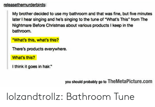 """Christmas, Singing, and Tumblr: releasethemurderbirds:  My brother decided to use my bathroom and that was fine, but five minutes  later I hear singing and he's singing to the tune of """"What's This"""" from The  Nightmare Before Christmas about various products I keep in the  bathroom.  """"What's this, what's this?  There's products everywhere.  What's this?  I think it goes in hair.  you should probably go to TheMetaPicture.com lolzandtrollz:  Bathroom Tune"""