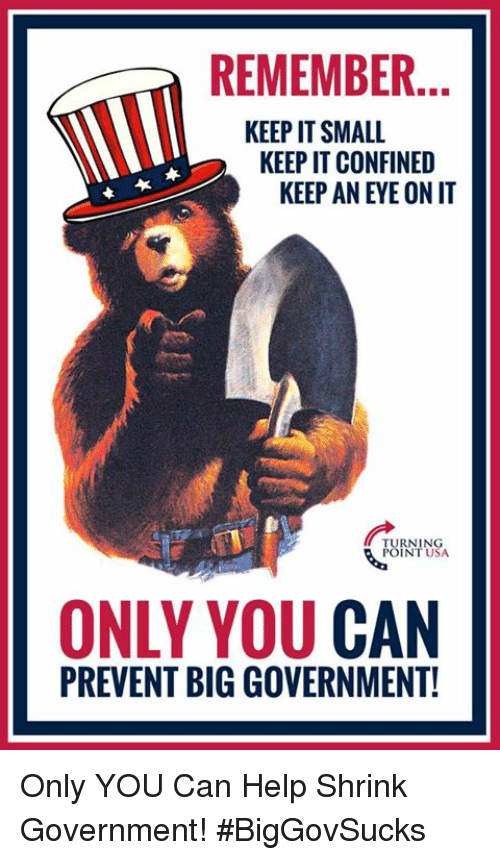 Memes, Help, and Government: REMEMBER.  KEEP IT SMALL  KEEP IT CONFINED  KEEP AN EYE ON IT  RNING  INT USA  ONLY YOU CAN  PREVENT BIG GOVERNMENT! Only YOU Can Help Shrink Government! #BigGovSucks