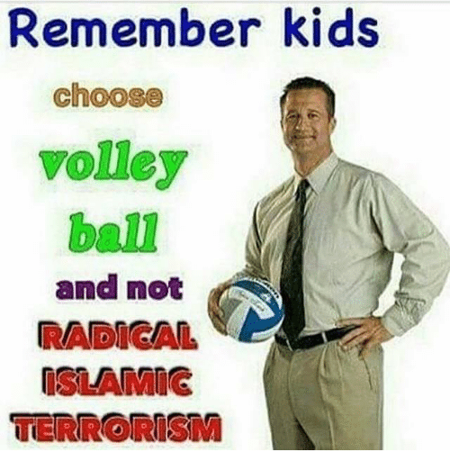 volley: Remember kids  Choose  volley  and not  RADICAL,  NSLANMIG  TERRORISM