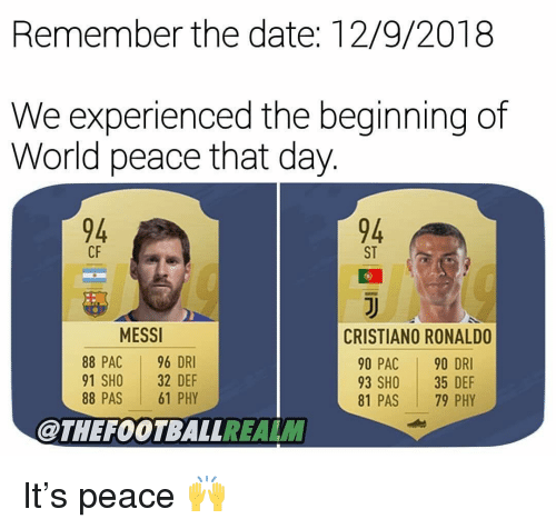 pac: Remember the date: 12/9/2018  We experienced the beginning of  World peace that day.  94  94  ST  CF  MESSI  88 PAC 96 DRI  91 SHO 32 DEF  88 PAS 61 PHY  CRISTIANO RONALDO  90 PAC 90 DRI  93 SHO 35 DEF  81 PAS 79 PHY  @THEFOOTBALLREALM It's peace 🙌