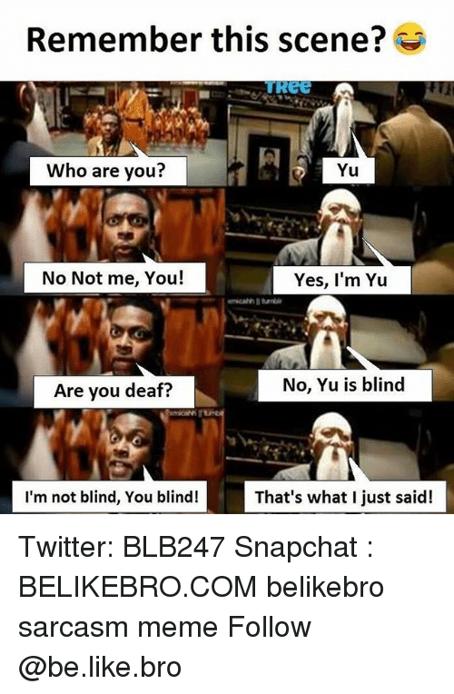 Be Like, Meme, and Memes: Remember this scene?  ReE  Who are you?  Yu  No Not me, You!  Yes, I'm Yu  Are you deaf?  No, Yu is blind  I'm not blind, You blind!  That's what I just said! Twitter: BLB247 Snapchat : BELIKEBRO.COM belikebro sarcasm meme Follow @be.like.bro
