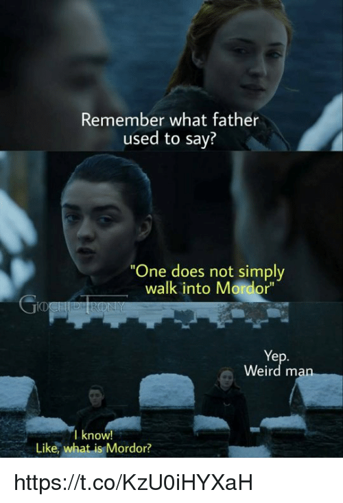 """mordor: Remember what father  used to say?  One does not simply  walk into Mordor""""  ID  Ye  Weird m  I know!  Like, what is Mordor? https://t.co/KzU0iHYXaH"""