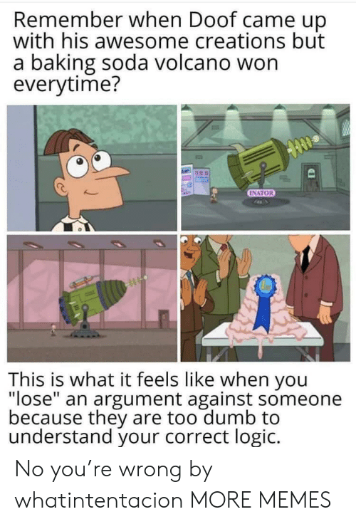 "Dank, Dumb, and Logic: Remember when Doof came up  with his awesome creations but  a baking soda volcano won  everytime?  INATOR  This is what it feels like when you  ""lose"" an argument against someone  because they are too dumb to  understand your correct logic. No you're wrong by whatintentacion MORE MEMES"