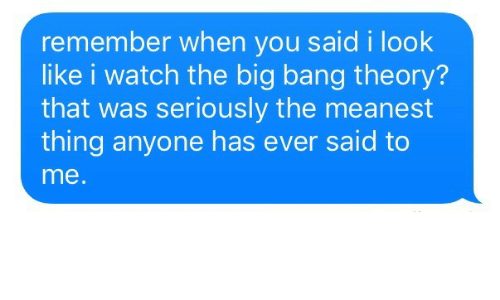 big bang: remember when you said i look  like i watch the big bang theory?  that was seriously the meanest  thing anyone has ever said to  me