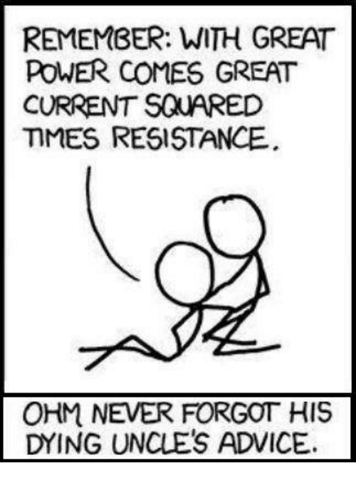 ohm: REMEMBER: WITH GREAT  POWER COMES GREAT  CURRENT SQUARED  MMES RESISTANCE  OHM NEVER FORGOT HIS  DYING UNCLES ADVICE.