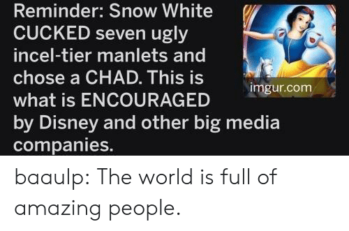 Snow White: Reminder: Snow White  CUCKED seven ugly  incel-tier manlets and  chose a CHAD. This is  imgur.com  what is ENCOURAGED  by Disney and other big media  companies. baaulp: The world is full of amazing people.