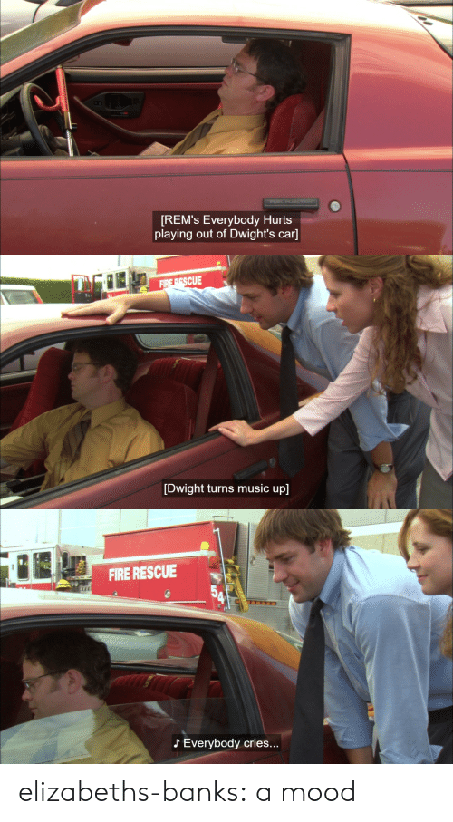 everybody hurts: [REM's Everybody Hurts  playing out of Dwight's car]   FIRE PESCUE  [Dwight turns music up]   FIRE RESCUE  Everybody cries. elizabeths-banks:  a mood