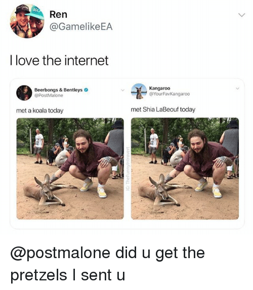 Internet, Love, and Shia LaBeouf: Ren  @GamelikeEA  I love the internet  Beerbongs & Bentleys  @PostMalone  Kangaroo  @YourFavKangaroo  met a koala today  met Shia LaBeouf today @postmalone did u get the pretzels I sent u
