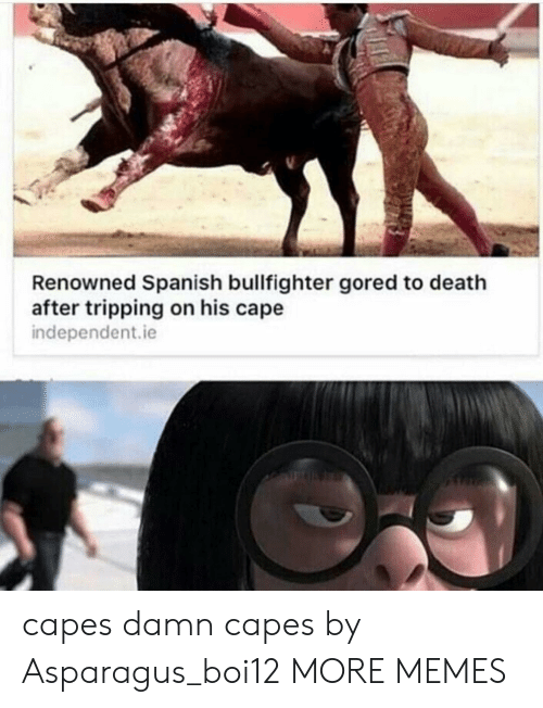 cape: Renowned Spanish bullfighter gored to death  after tripping on his cape  independent.ie  capes damn capes by Asparagus_boi12 MORE MEMES
