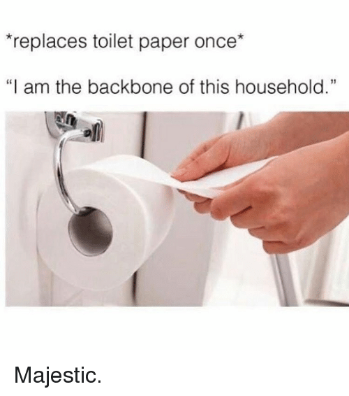 "Majesticity: *replaces toilet paper once*  ""I am the backbone of this household."" Majestic."