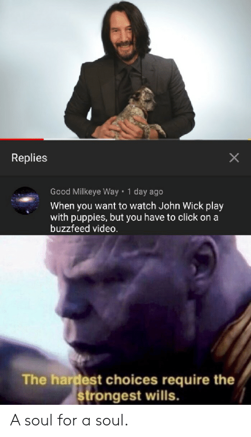 Click, John Wick, and Puppies: Replies  Good Milkeye Way 1 day ago  When you want to watch John Wick play  with puppies, but you have to click on a  buzzfeed video.  The hardest choices require the  rongest wills. A soul for a soul.