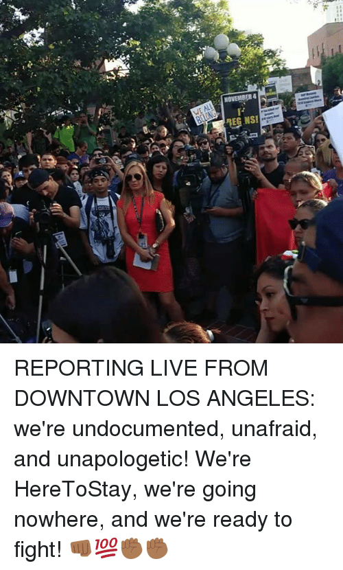 fightings: REPORTING LIVE FROM DOWNTOWN LOS ANGELES: we're undocumented, unafraid, and unapologetic! We're HereToStay, we're going nowhere, and we're ready to fight! 👊🏾💯✊🏾✊🏾