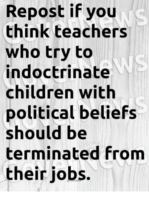 Children, Memes, and Jobs: Repost if you  think teachers  who try to  indoctrinate  children with  political beliefs  should be  terminated from  their jobs.  WS