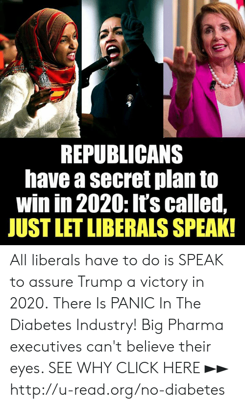 Diabetes: REPUBLICANS  have a secret plan to  win in 2020: It's called,  JUST LET LIBERALS SPEAK! All liberals have to do is SPEAK to assure Trump a victory in 2020.  There Is PANIC In The Diabetes Industry! Big Pharma executives can't believe their eyes. SEE WHY CLICK HERE ►► http://u-read.org/no-diabetes