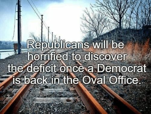 Discover, Office, and Back: Republicans will be  horrified to discover  the deficit once a Democrat  is back in the Oval Office