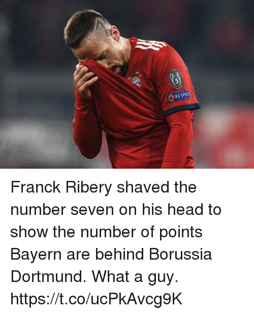 Head, Soccer, and Bayern: RES Franck Ribery shaved the number seven on his head to show the number of points Bayern are behind Borussia Dortmund. What a guy. https://t.co/ucPkAvcg9K