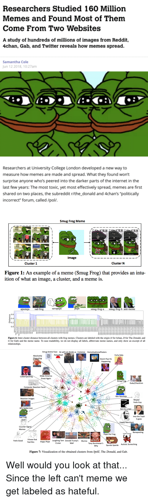 "Pepe the Frog: Researchers Studied 160 Milliorn  Memes and Found Most of Them  Come From Two Websites  A study of hundreds of millions of images from Reddit,  4chan, Gab, and Twitter reveals how memes spread.  Samantha Cole  Jun 12 2018,10:27am  产ブ  Researchers at University College London developed a new way to  measure how memes are made and spread. What they found won't  surprise anyone who's peered into the darker parts of the internet in the  last few years: The most toxic, yet most effectively spread, memes are first  shared on two places, the subreddit r/the_donald and 4chan's ""politically  incorrect"" forum, called /pol/   Smug Frog Meme  Image  Cluster 1  Cluster N  Figure 1: An example of a meme (Smug Frog) that provides an intu-  ition of what an image, a cluster, and a meme is.   When?  Where?  What?  Who?  How  apustaja sad-frog  savepepe  pepe  smug-frog-asmug-frog-b anti-meme  0.6  o 0.4  0.2  0.0  Figure 6: Inter-cluster distance between all clusters with frog memes. Clusters are labeled with the origin (4 for 4chan, D for The Donald, and  G for Gab) and the meme name. To ease readability, we do not display all labels, abbreviate meme names, and only show an excerpt of all  relationships.   Smug Anime Face  He will not divide us Costanza  DemotivationalPosters  Smug Polandball  Anime  Forty Keks  Absolutely  Disgusting  Face  Doom Paul Its  Happening  POTENTIAI  forty keks  IT DIDN'T MAVE TO  END LIKE  ABSOLUTELY  DISGUSTIN  REAT AGAIN  Make America  Colbertposting  Great Again .  Smug Frog  Dubs/Check'em  Computer Reaction Faces  Apu Apustaja  Reaction Images  Wojak/  Feels Guy  This is bait.  60's Spiderman  Bait this is Bait  Into the Trash  it goes  Sad Frog  smug eastern  Happy Merchant  Counter Signa  Memes  IKNOW THAT FEEL BRO  Baneposting  autistic screeching  Pepe the Frog  I Know that  Feel Bro  WHY  Tony Kornheiser's  Why  Feels Good  Laughing Tom Donald Trump's Murica  Angry Pepe  Cruise  Well  Autistic Screeching  Spurdo Sparde  Figure 7: Visualization of the obtained clusters from /pol/, The Donald, and Gab Well would you look at that... Since the left can't meme we get labeled as hateful."
