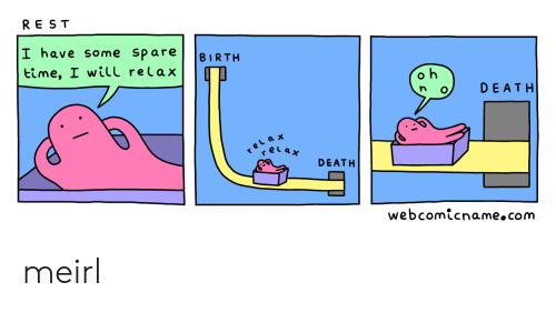 Death, Time, and MeIRL: REST  I have some spare  BIRTH  time, I wiTl relax  DEATH  elax  elax  r  DEATH  webcomicname.com meirl