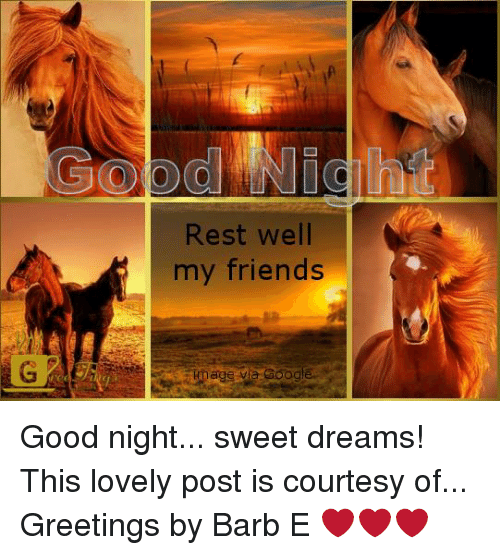 Rest Well My Friends Oogle Good Night Sweet Dreams! This
