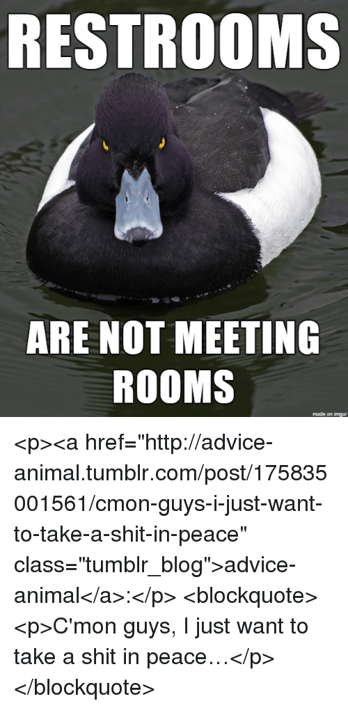 """cmon-guys: RESTROOMS  ARE NOT MEETING  ROOMS  1  made on imgur <p><a href=""""http://advice-animal.tumblr.com/post/175835001561/cmon-guys-i-just-want-to-take-a-shit-in-peace"""" class=""""tumblr_blog"""">advice-animal</a>:</p>  <blockquote><p>C'mon guys, I just want to take a shit in peace…</p></blockquote>"""