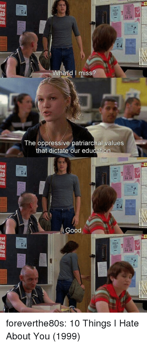 10 Things I Hate About You: ret  AD  ing  TED  Whatd I miss  ISS  The oppressive patriarchal values  that dictate our education  ret  AD  Good  ret  AD foreverthe80s:  10 Things I Hate About You (1999)