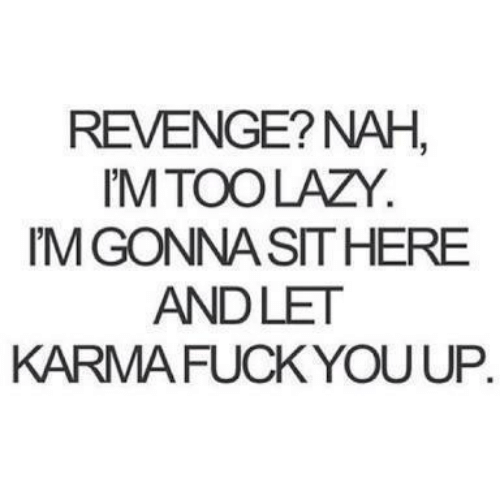 Revenge: REVENGE? NAH  M TOO LAZY.  M GONNA SITHERE  ANDLET  KARMA FUCK YOU UP.