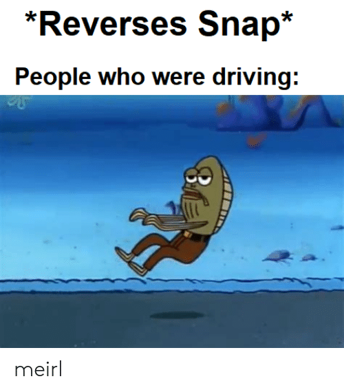 Driving, MeIRL, and Snap: *Reverses Snap*  People who were driving: meirl